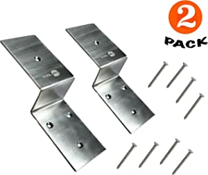 Heavy Duty Stainless Steel Door Barricade Brackets| Set of 2| Fit 2x4 Inches Lumber| Open Bar Holders Shipped with Screws| Door Security Brackets with Pin Hole| Easy and Effective Security Measure|