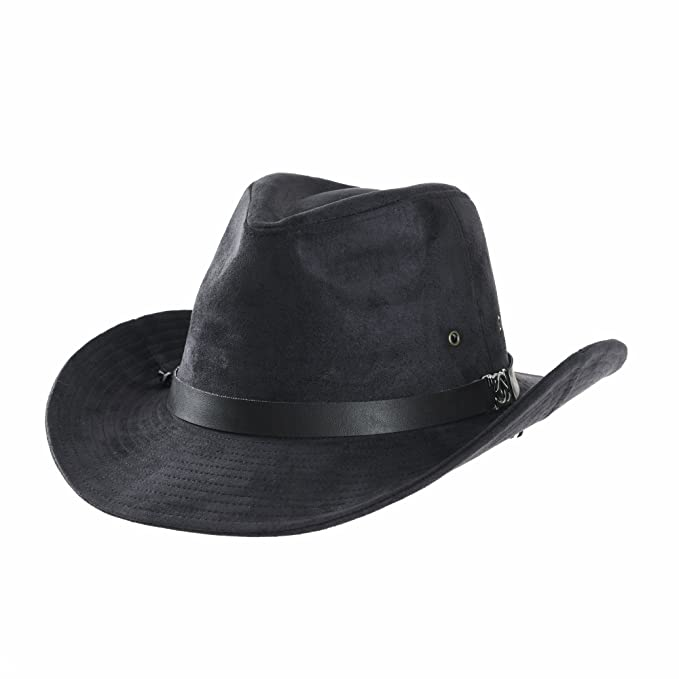 WITHMOONS Sombrero de Cowboy Suede Indiana Jones Hat Outback Hat Fedora  with Cord CD8858 (Navy dfffe7cdc6b