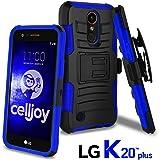 LG K20 Plus Case, LG K20 V Case, LG Harmony Case, LG K10 2017 Case, CellJoy [Ultra Rugged Hybrid] {ShockProof} [Heavy Duty] Protection Kickstand Cover [Locking Swivel Belt Clip Holster Combo] (Blue)