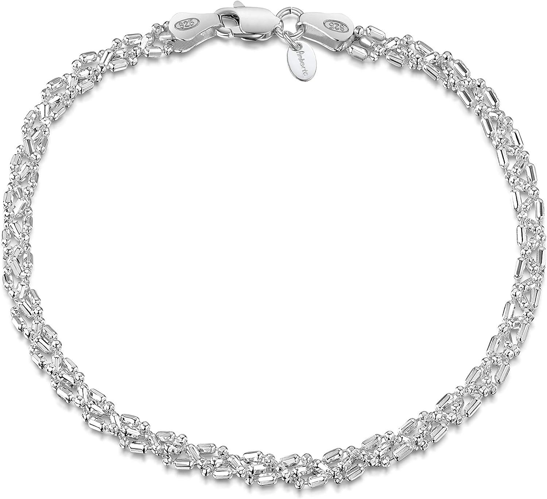 Amberta® Joyería - Pulsera - Fina Plata De Ley 925 - Diamante Corte- Cadena de Bola - 3.5 mm - 18 19 20 cm