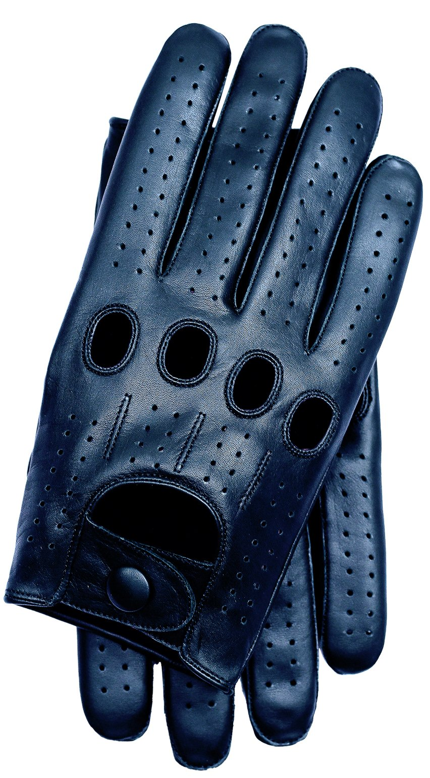 Riparo Genuine Leather Full-finger Driving Gloves (Small, Black)