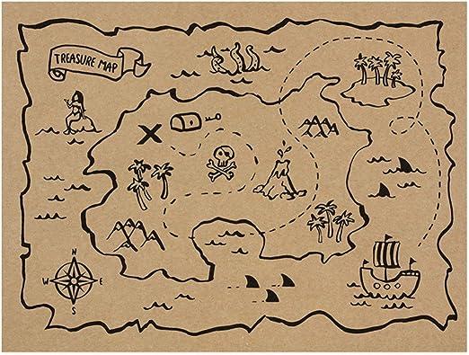 PartyDeco- Paquete de 30 manteles Individuales de Papel Americano con Mapa del Tesoro Piratas, 40 x 30 cm, Color ppt1: Amazon.es: Juguetes y juegos