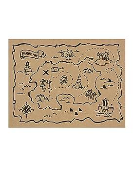 Mapa Del Tesoro Pirata Para Niños.Paquete De 30 Manteles De Papel Con El Mapa Del Tesoro