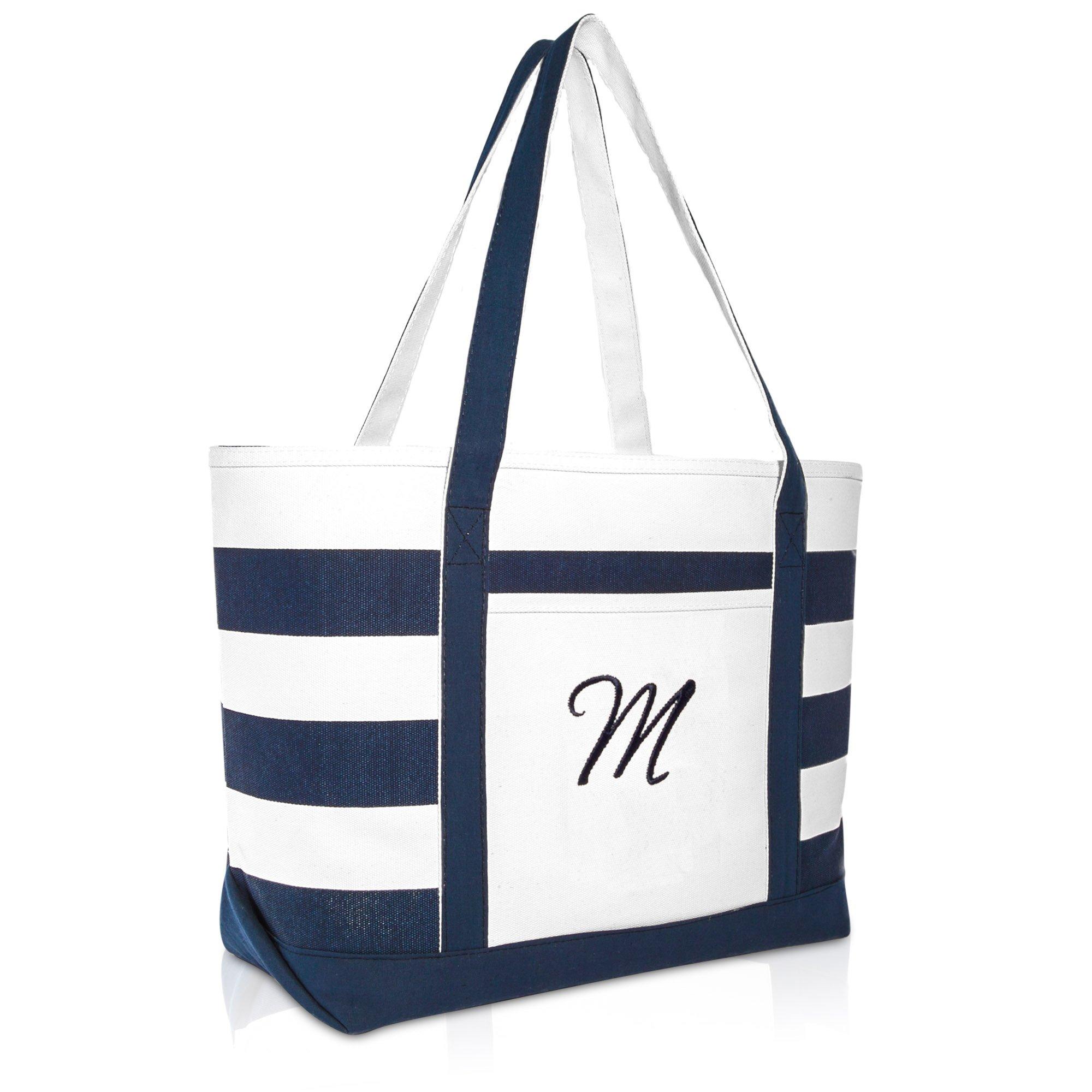 DALIX Premium Beach Bags Striped Navy Blue Zippered Tote Bag Monogrammed M
