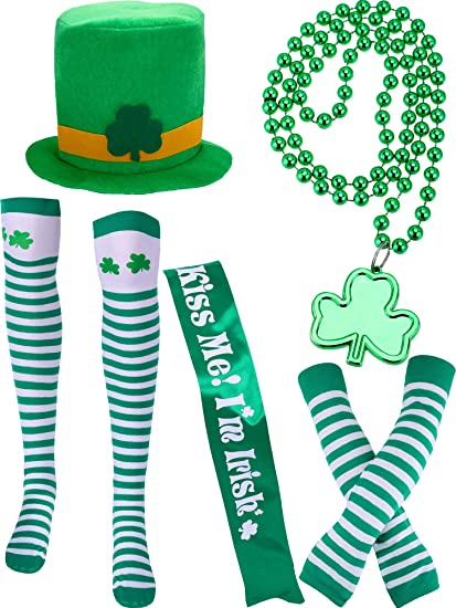 Amazon Com Chuangdi 5 Pieces St Patrick S Day Costume Accessory Sets Include Green Hat Striped Socks Sash Bead Necklace Arm Sleeves For Irish Party Supply Toys Games