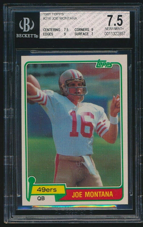 Amazoncom Bgs 75 Joe Montana 1981 Topps 216 Rc Rookie