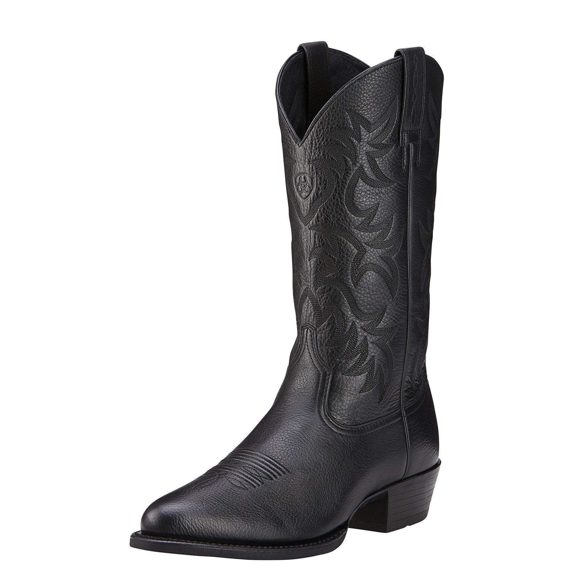 Ariat Men's Heritage Western R Toe Cowboy Boot, Black Deer Tan, 10 D US
