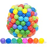 Playz 50 Soft Plastic Mini Play Balls w/ 8 Vibrant Colors - Crush Proof, No Sharp Edges, Certified Non Toxic, Phthalate…
