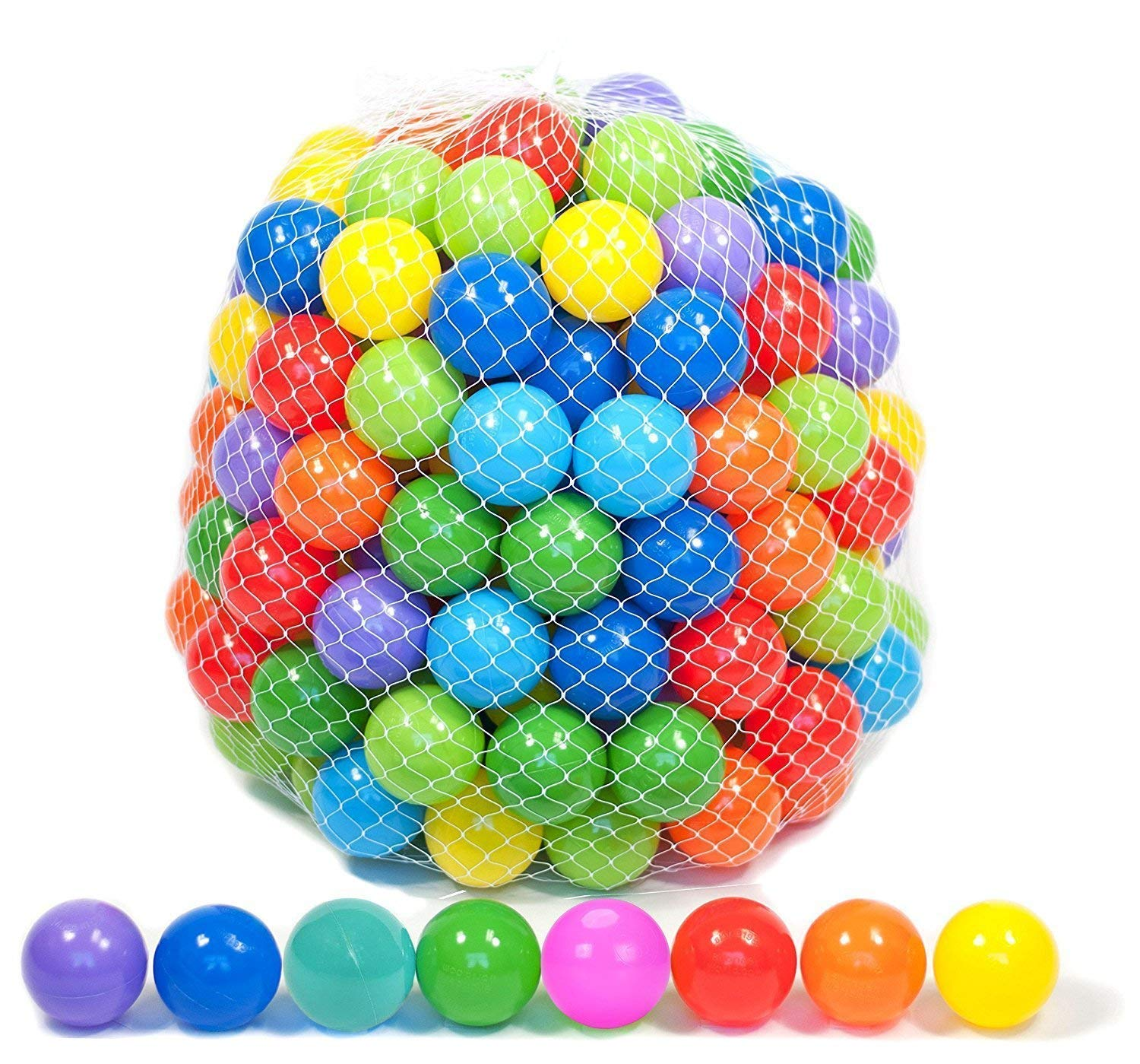 Playz 50 Soft Plastic Mini Play Balls w/ 8 Vibrant Colors - Crush Proof, No Sharp Edges, Certified Non Toxic, Phthalate & BPA Free - Use in Baby Toddler Ball Pit, Play Tents & Tunnels Indoor & Outdoor by Playz