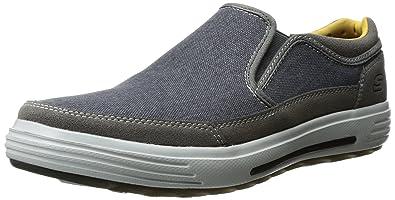 Skechers USA Men's Porter Compen Slip-On Loafer,Navy/Gray,7 M