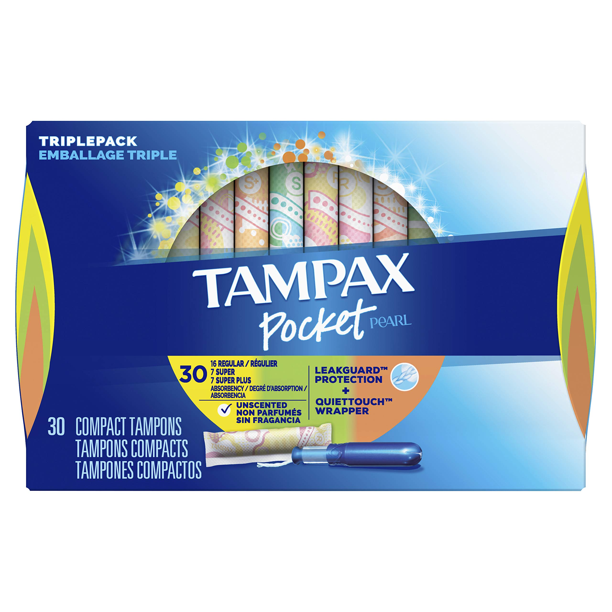 Tampax Pocket Pearl Plastic Tampons, Regular/Super/Super Plus Absorbency Triplepack, Unscented, 30 Count (Packaging May Vary)