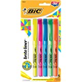 BIC Brite Liner Highlighter, Chisel Tip, Assorted Colors, 5 Count  (BLP51W)