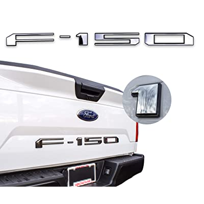 AUTO PRO ACCESSORIES Tailgate Insert Letters for 2020-2020 Ford F150 (Chrome W. Black Outline): Automotive