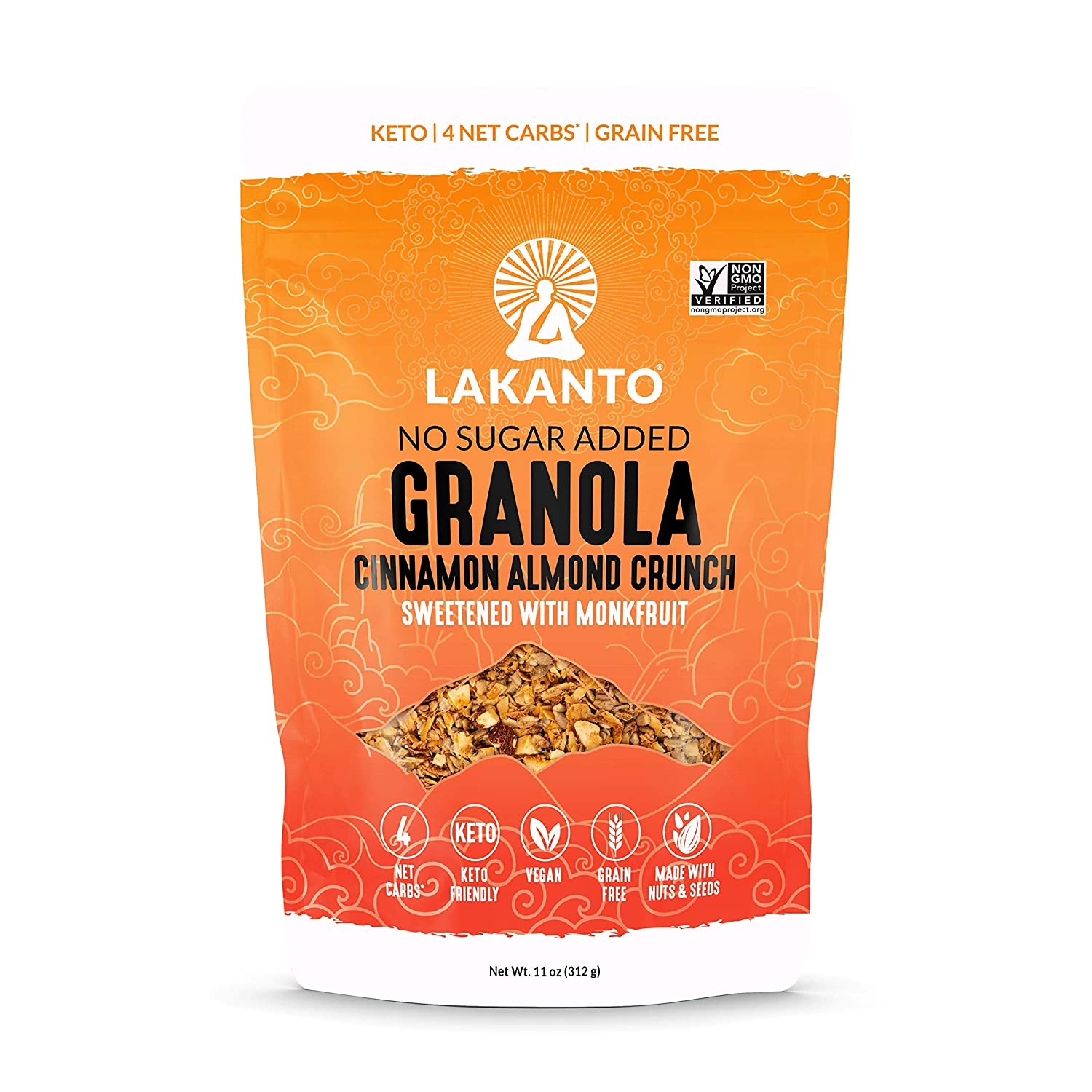 Lakanto Healthy Quick Breakfast Granola Crunch Cereal with Monk Fruit, Keto Snack, Sugar Free, Vegan, Gluten Free & Grain Free, Cinnamon/Almond, 11 Ounce