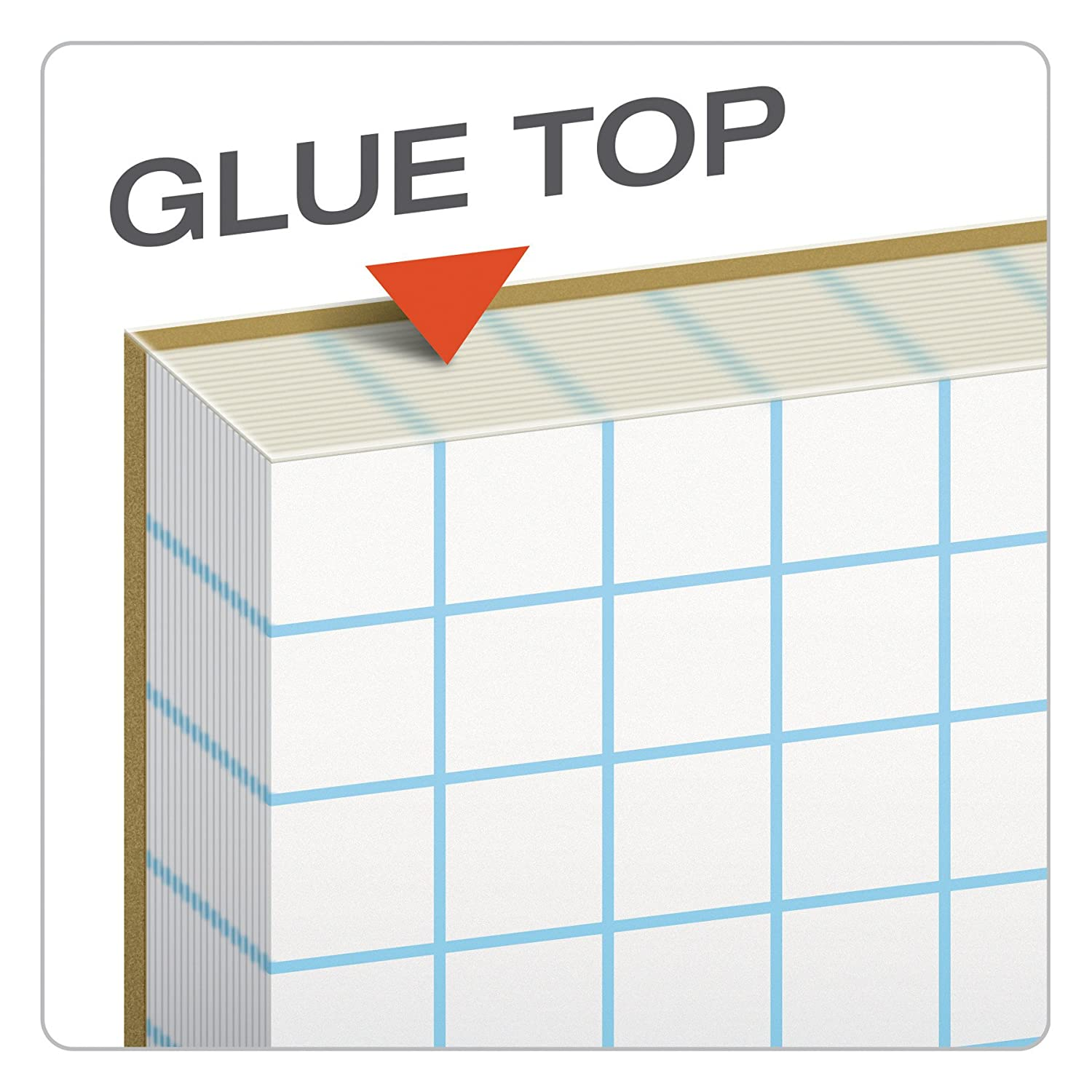 TOPS Cross-Section Pads Glue Top 35101 Graph Rule 10 x 10 50 Sheets 8-1//2 x 11