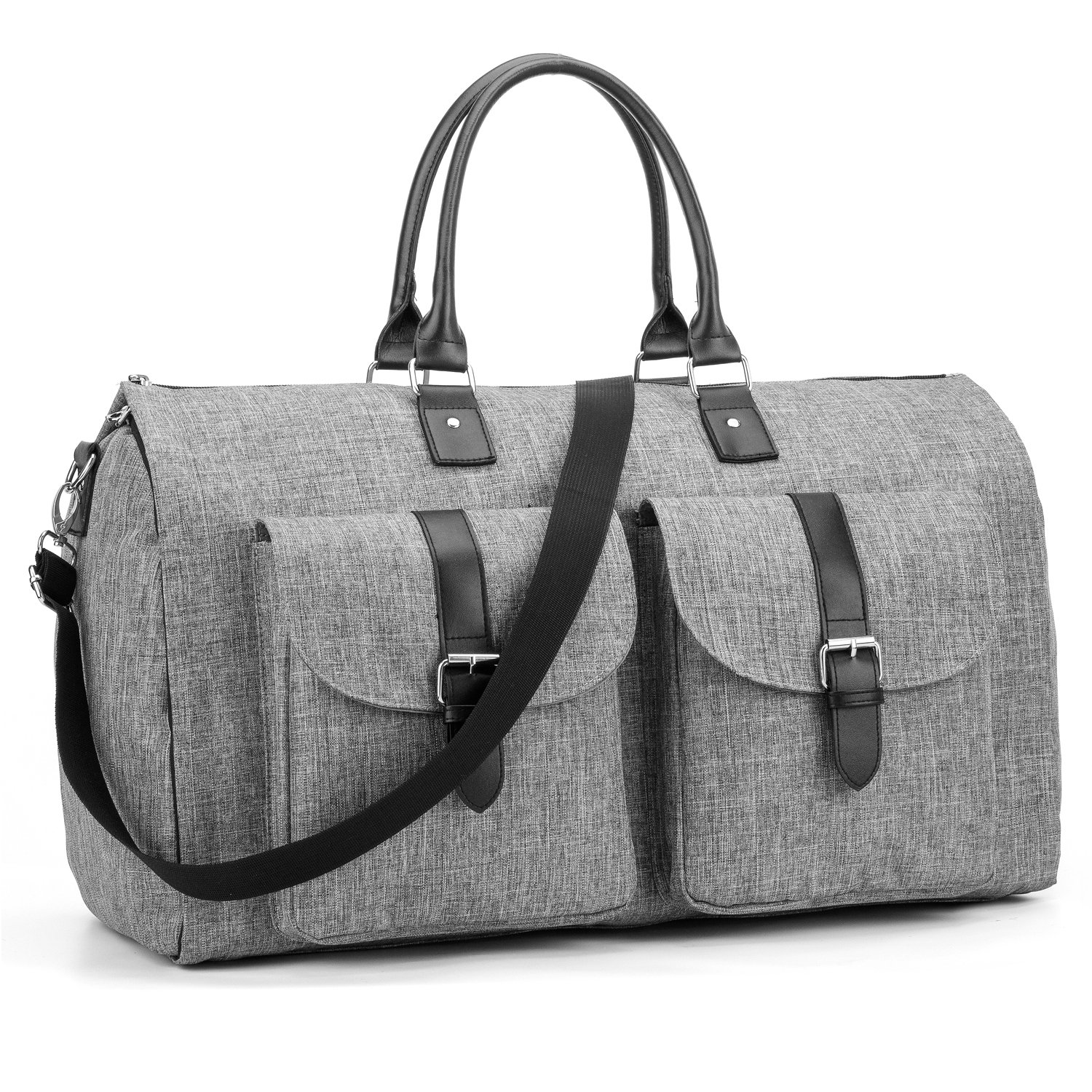 Amzbag Expandable Travel Duffel Bag XXL Capacity Weekender Bag With Leather Handle Suit Carry On Garment Bag for Travel/Business Trips (Grey)
