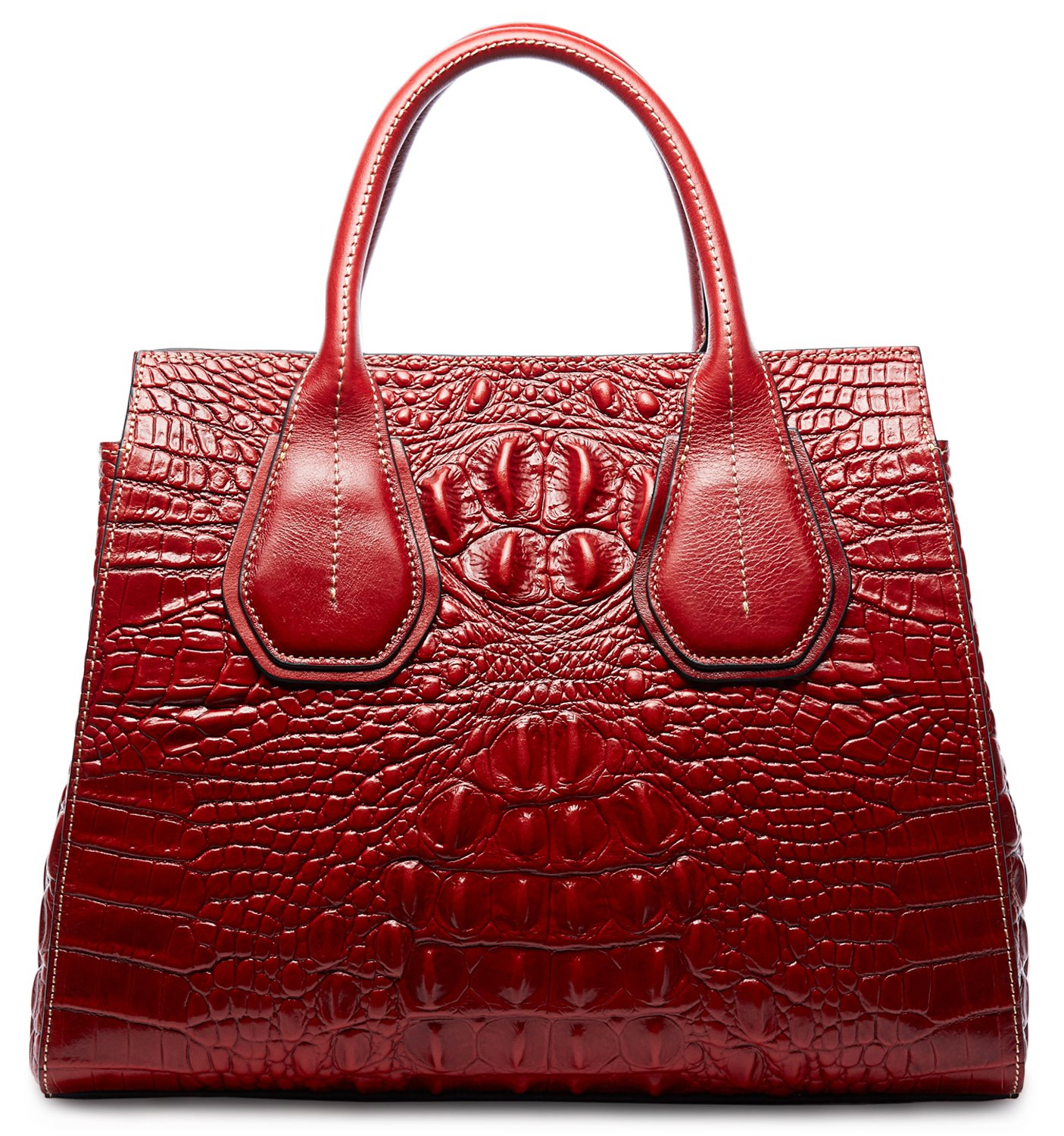 PIFUREN Classic Embossed Crocodile Genuine Leather Top Handle Satchel Handbags M1103(One Size, Red)