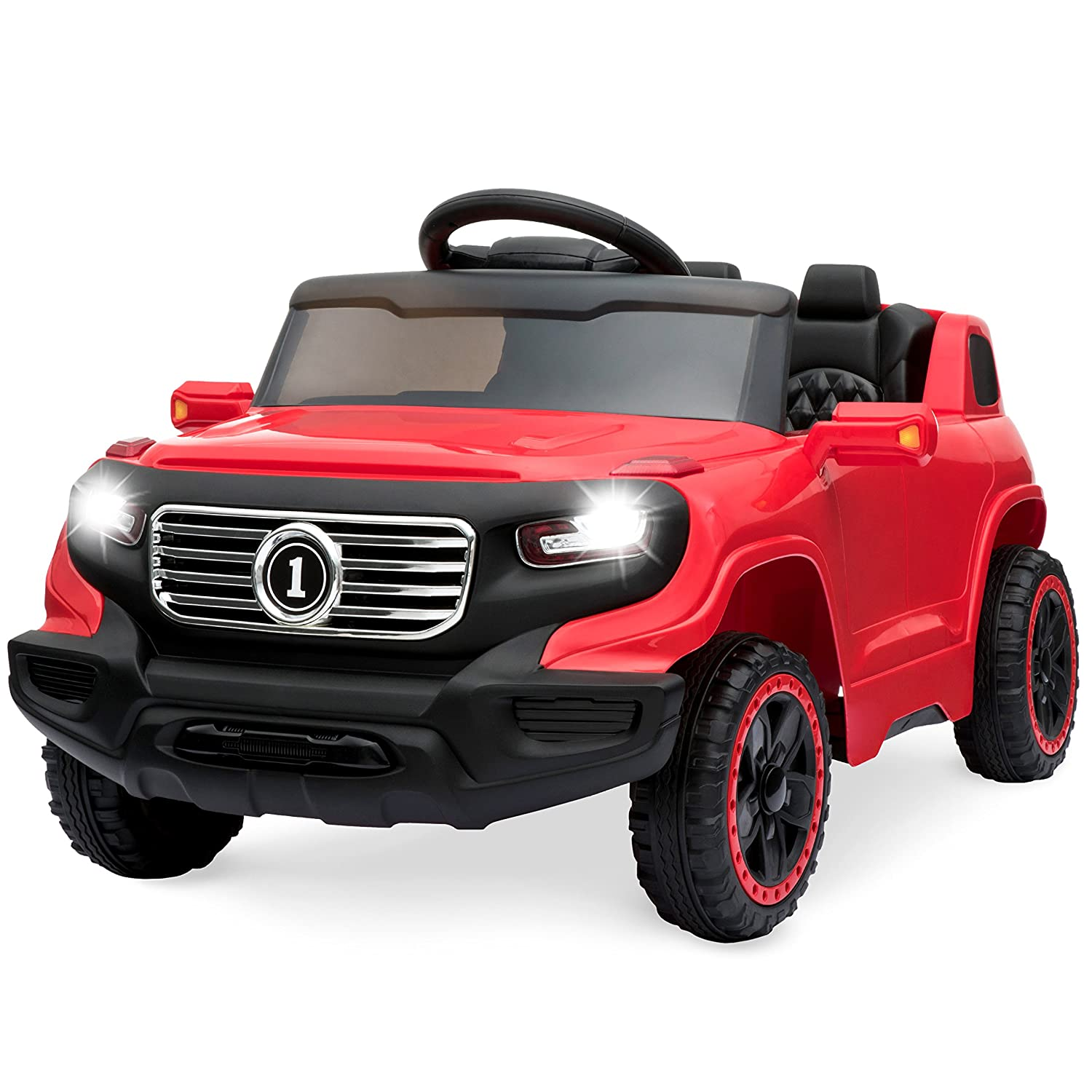 Best Choice Products 6V Kids Ride-On Car Truck w/ Parent Control, 3 Speeds, LED Headlights, MP3 Player, Horn - Red