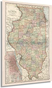 Historix Vintage 1891 Map of Illinois with Closeup of City of Chicago - 24x36 Inch Vintage Map of Illinois Wall Art - Illinois State Map - Illinois Wall Decor - Map of Illinois Poster (2 Sizes)