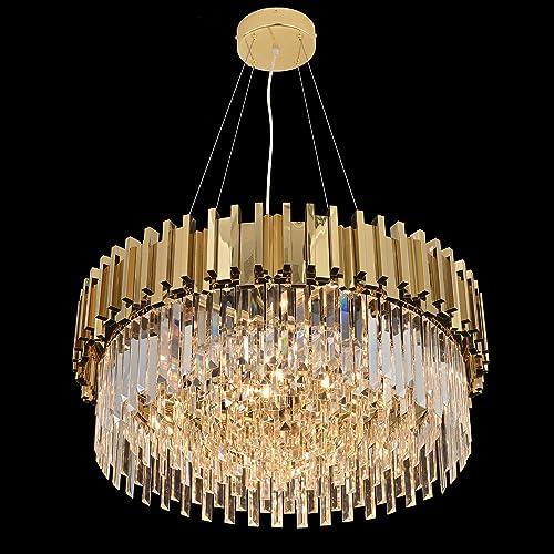 Cheap MEEROSEE Modern Crystal Chandelier Lighting Led Pendant Lights Fixture living room chandelier for sale