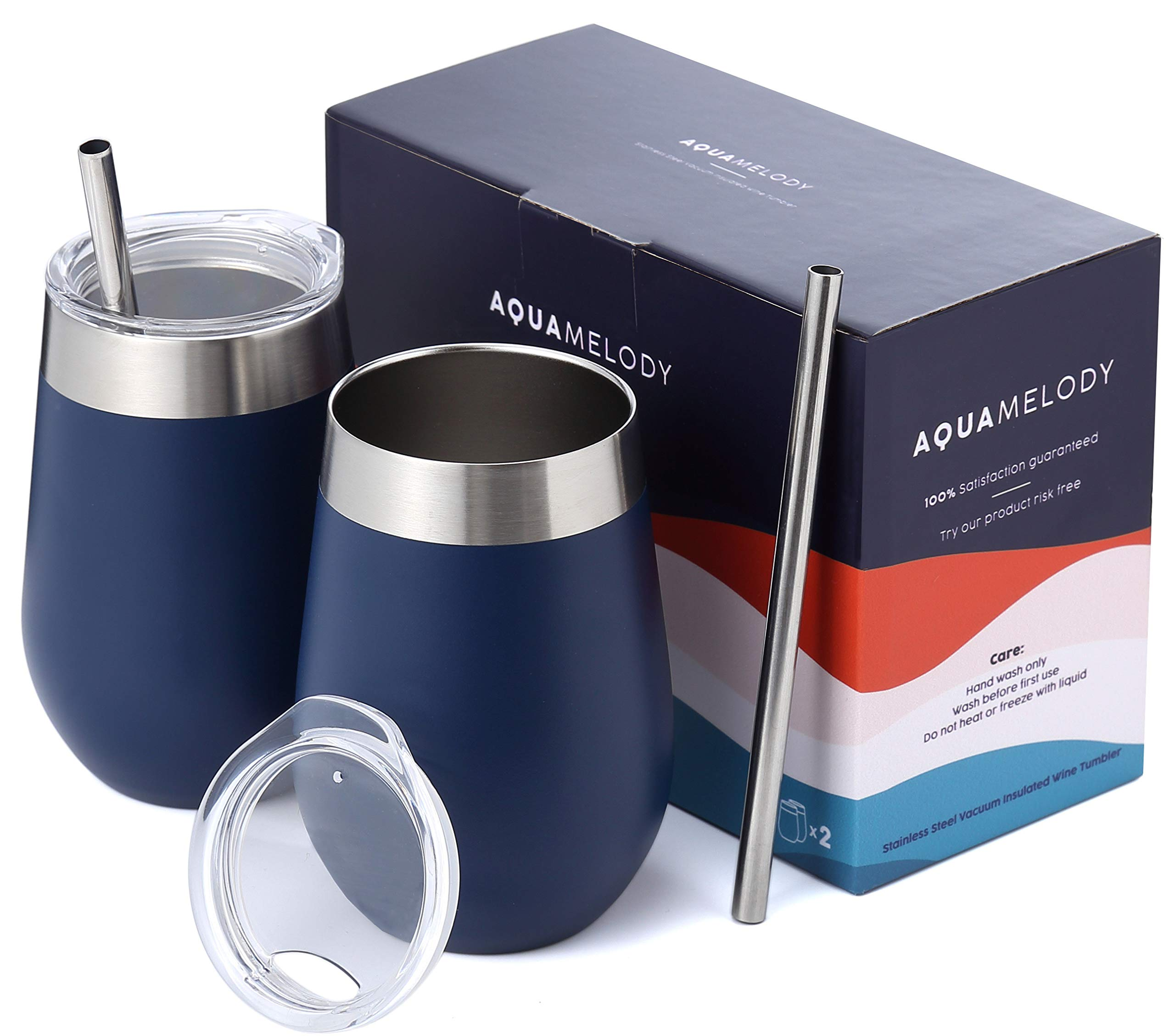Aqua Melody Double Insulated Stainless Steel Wine Glass | 12oz Wine Tumbler | Powder Coated | Unbreakable (Includes 2 Steel Straws and 2 Lids) (Navy, 12oz)