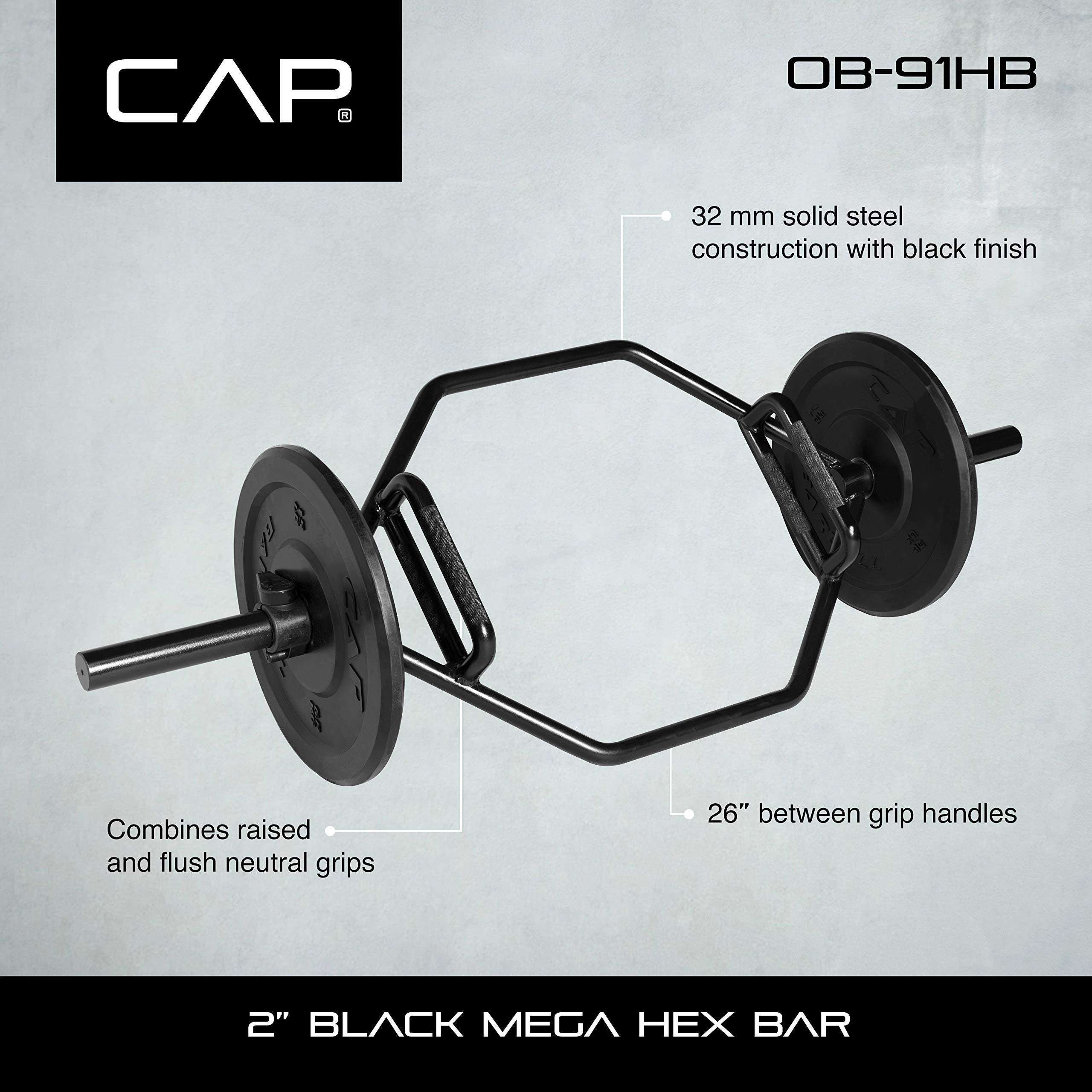 CAP Barbell OB-91HB Cap Mega Olympic Trap Bar, Shrug Bar, Hex Bar with Combo Neutral Grips and Black Finish, Black, Combo Neutral Grips by CAP Barbell (Image #5)