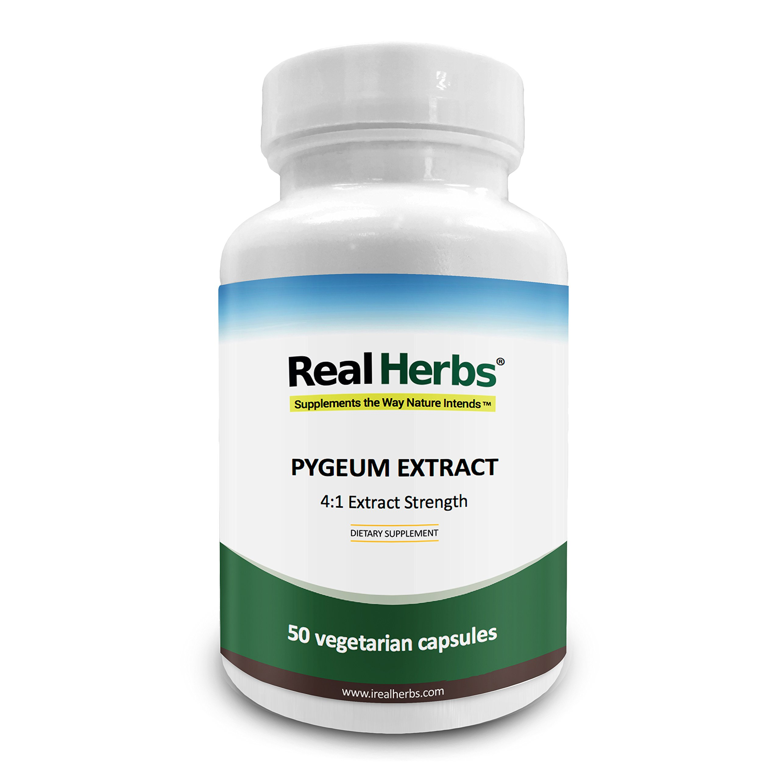 Real Herbs Pygeum Bark Extract with 4 :1 Extract Strength - Supports Urinary Tract Health - 50 Vegetarian Capsules
