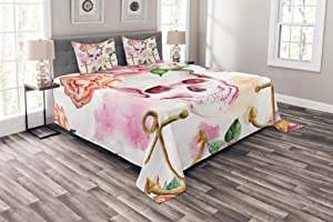 Ambesonne Skull Bedspread, Nautical Anchor with Victorian Roses Peonies Vintage Art Design Print, Decorative Quilted 3 Piece Coverlet Set with 2 Pillow Shams, Queen Size, White Brown