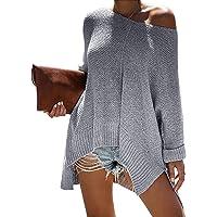 LOMON Women Off Shoulder V Neck Loose Knitted Sweater Oversized Pullover High Low Hemline