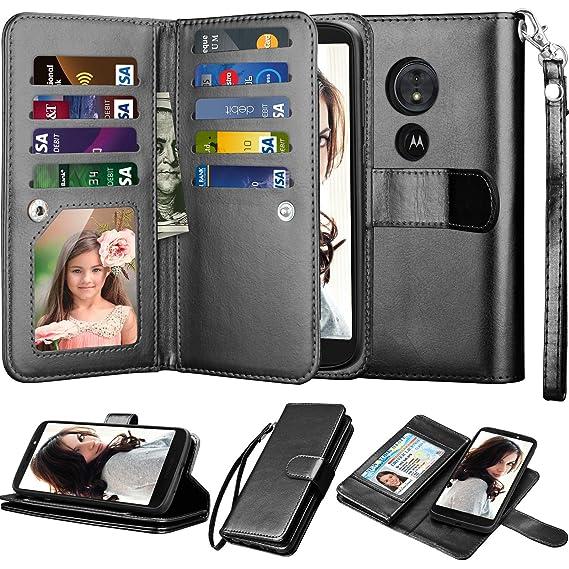 timeless design 08384 a1ed3 Njjex for Moto E5 Plus Wallet Case, for Moto E5 Supra Case, PU Leather [9  Card Slots] ID Credit Folio Flip Cover [Detachable][Kickstand] Magnetic ...
