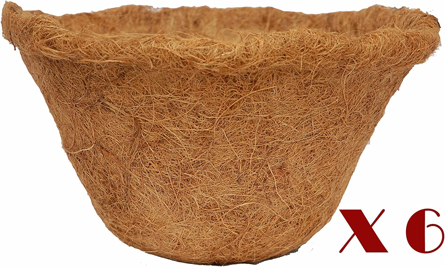 12-inch Hand Formed Hanging Basket Coco Fiber Liner with Water Retainer C417L-6 – Pack of 6 Liners