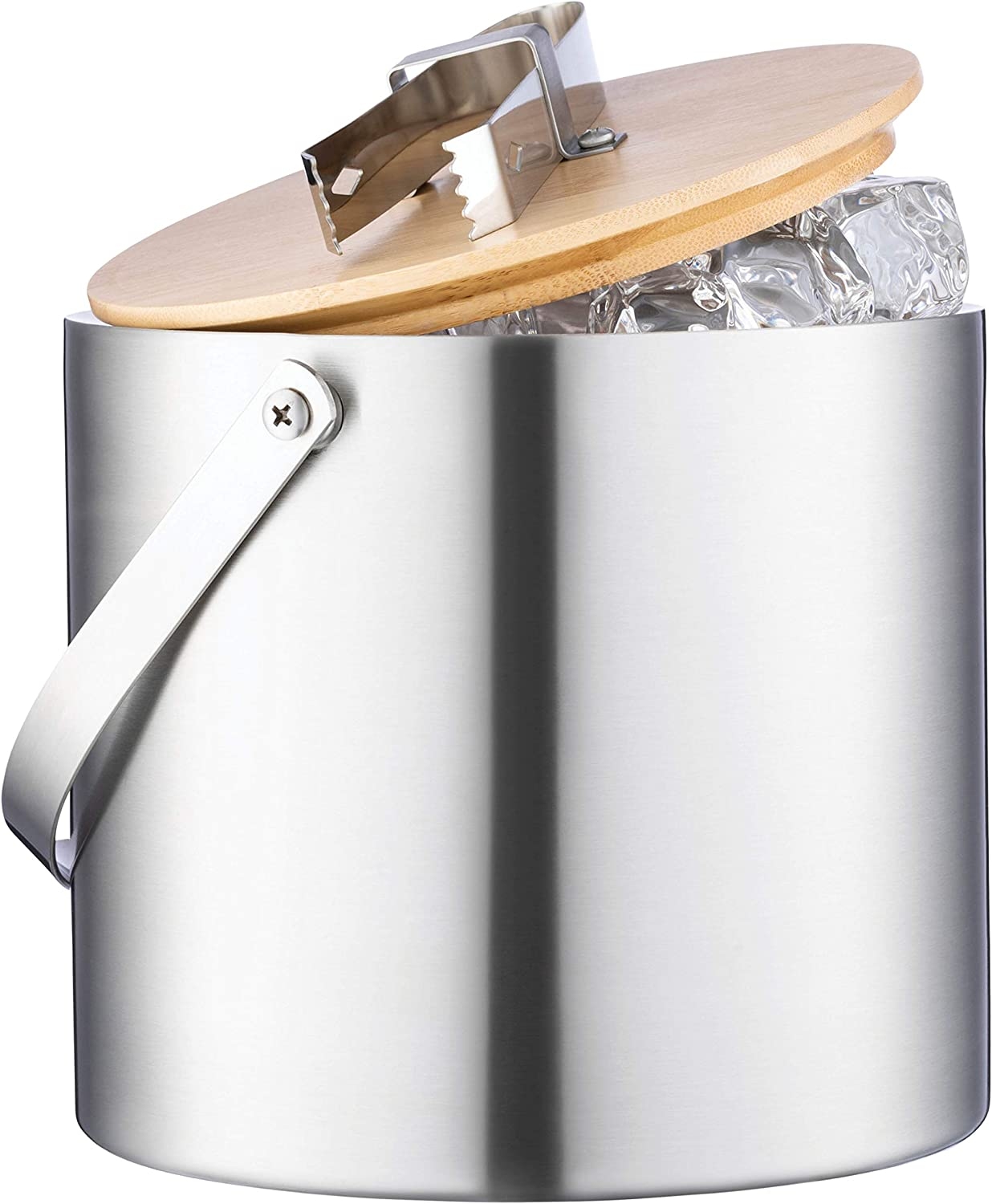 Stainless Steel Double Wall with Strainer Ice Bucket Insulated with Tongs and Lids 3 Quarts for Parties and Bar