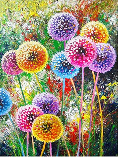 Amazon Com Colorful Diamond Painting Kits Flower Paint With Diamond By Number Kits 5d Full Drill Round Rhinestone Embroidery Cross Stitch Home Wall Decor Floral 12x16 Inch
