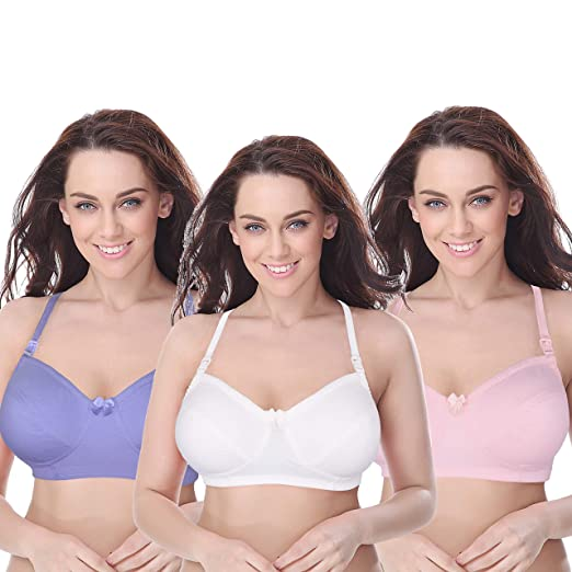 f5acea3d0f3 Curve Muse Women s Plus Size Maternity Nursing Cotton Wirefree Bra- 3 Pack -Cream