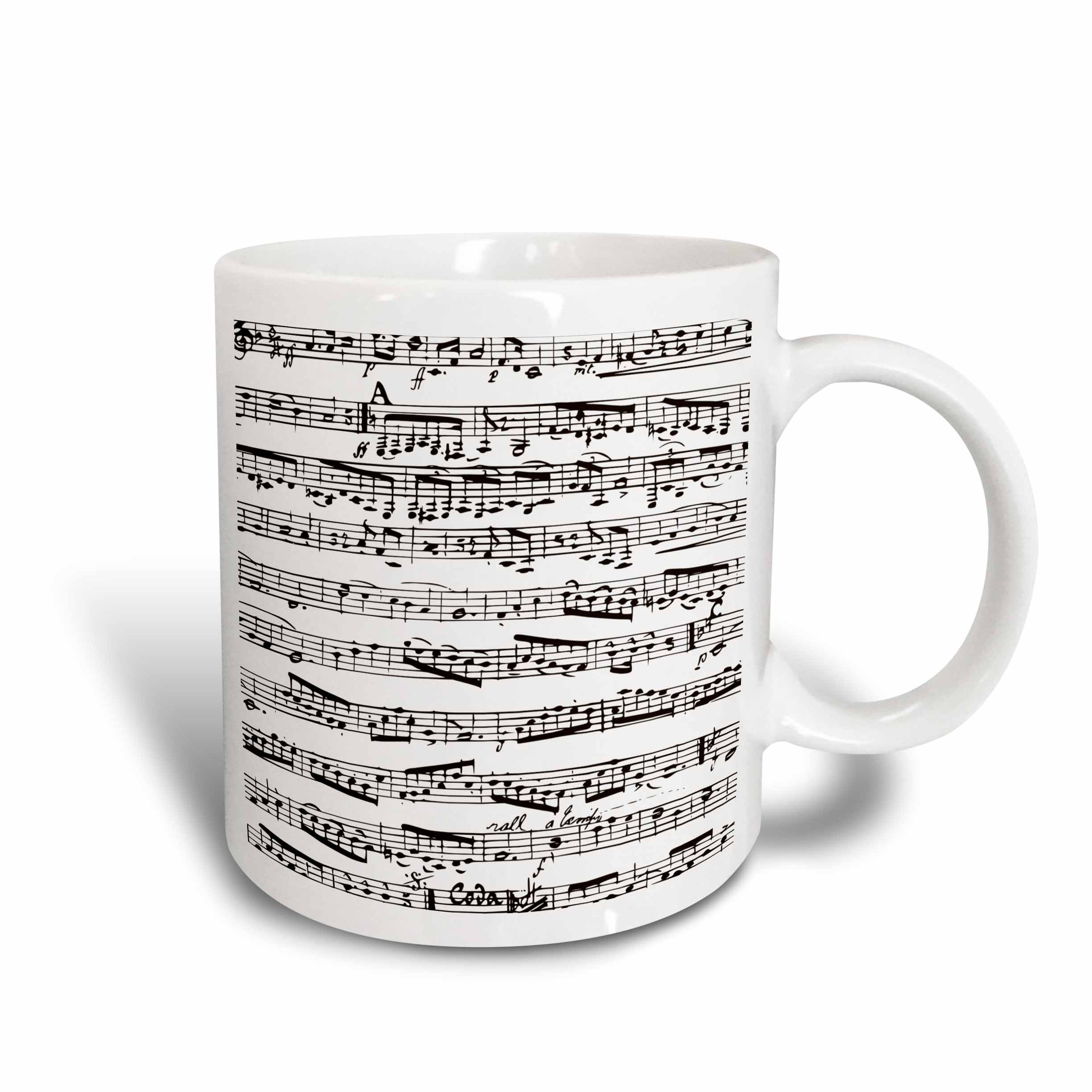 3dRose mug_112825_2 Musical Notes Vintage Sheet Music Black and White Piano Notation Pianist and Musician Gifts Ceramic Mug, 15-Ounce