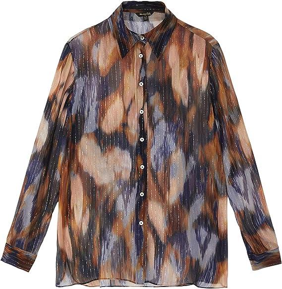 MASSIMO DUTTI 5121/814/920 - Camisa Estampada para Mujer Azul 44: Amazon.es: Ropa y accesorios