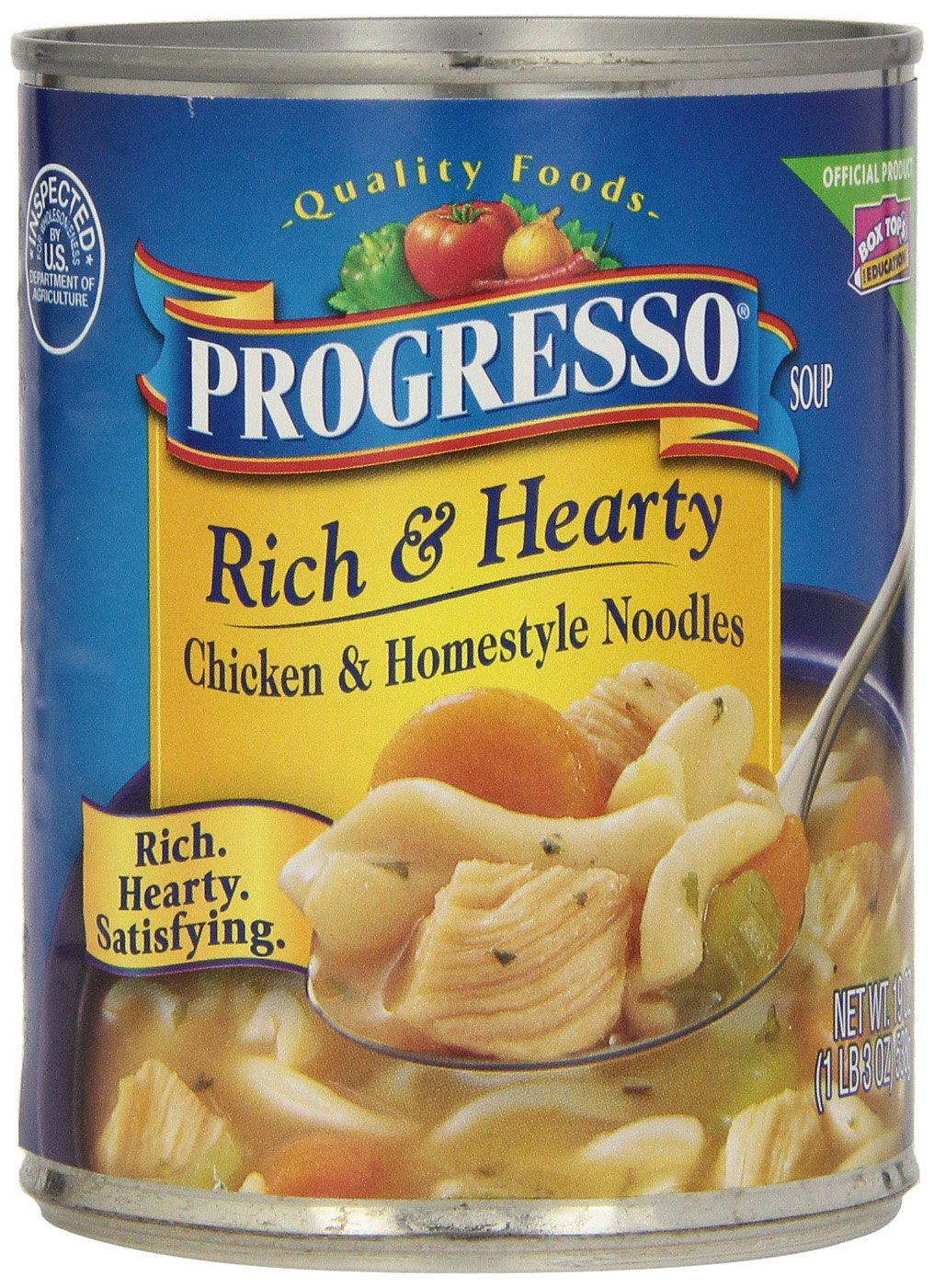 Progresso Rich & Hearty Soup, Chicken and Homestyle Noodles, 19-Ounce Cans (Pack of 12)