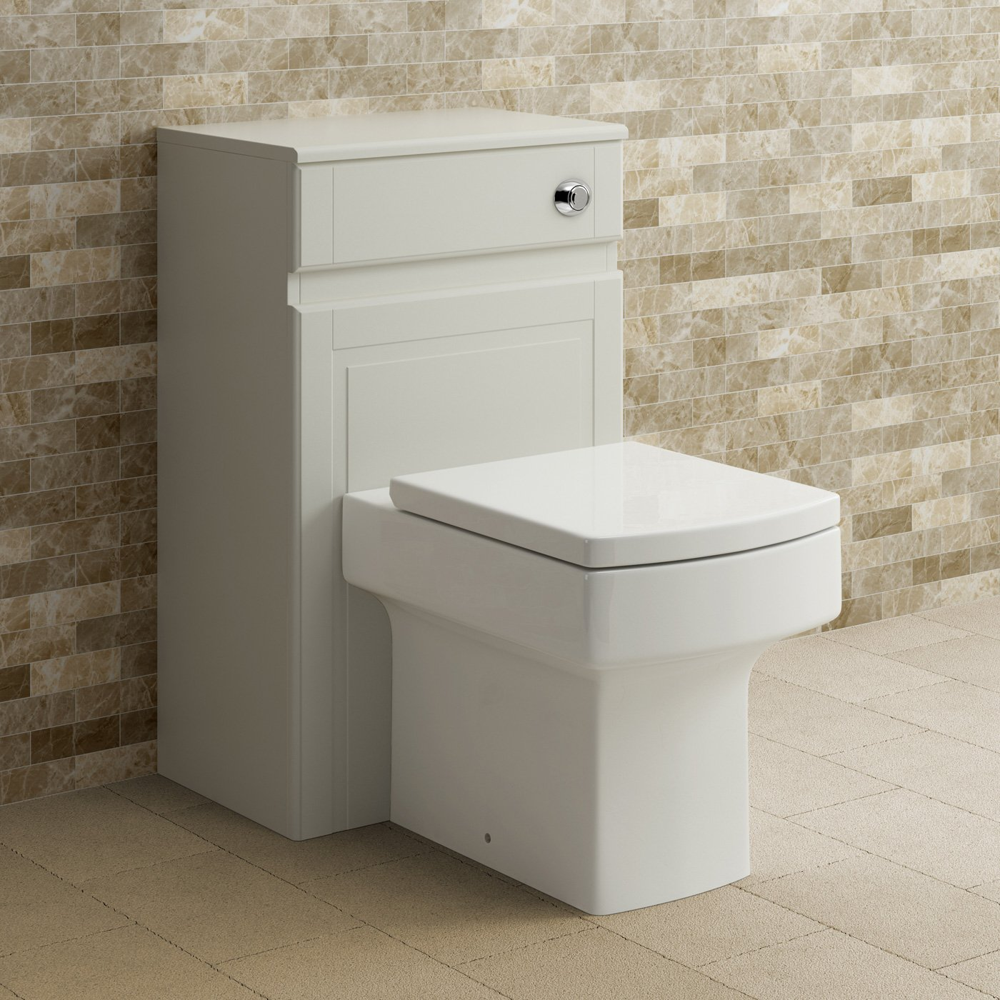 500mm Ivory Back To Wall Toilet Concealed Cistern Housing Unit Bathroom Furniture iBathUK