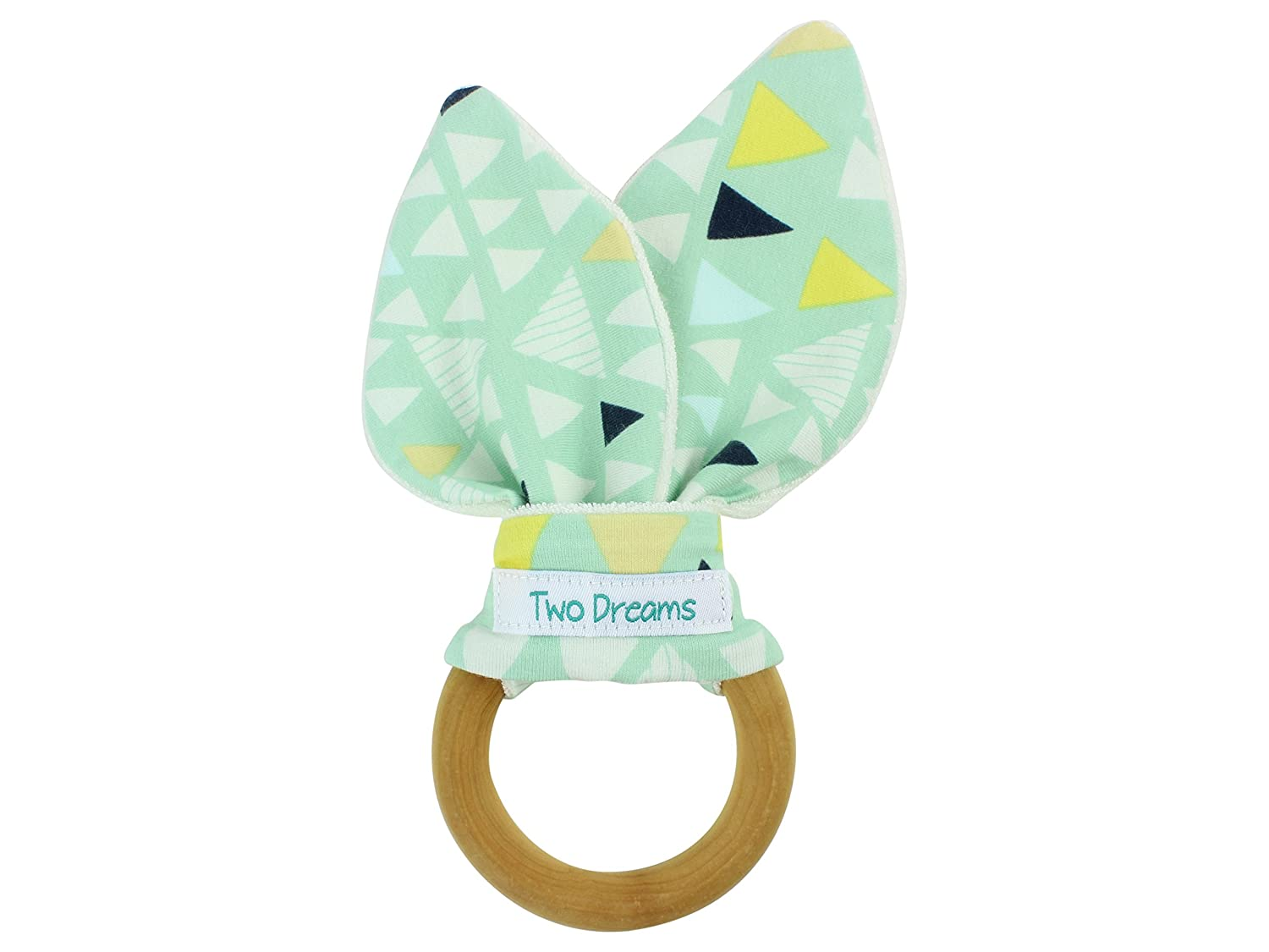 Mint Triangle Natural Organic Wooden Teether Bamboo Organic Terry Cloth Ring Toy Natural Maple Teething Ring