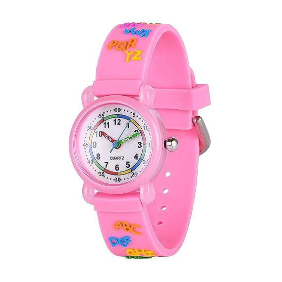 Gaigor Niñas Reloj de Pulsera de Cuarzo analógico plástico G019W001/Rosa Alfabeto
