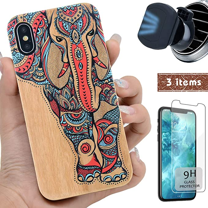 408b6ef187db5 iProductsUS Wood Phone Case Compatible with iPhone Xs MAX,Magnetic Mount  and Screen Protector-3D UV Print Colorful Elephant Cases,Compatible  Wireless ...