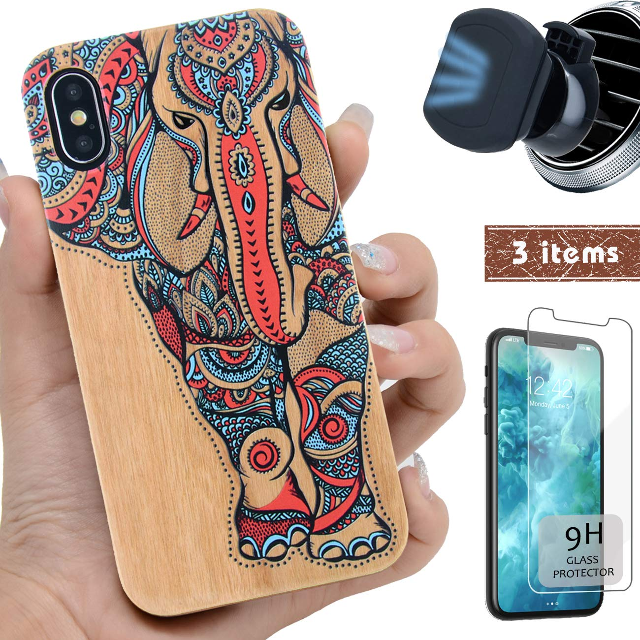 """iProductsUS Wood Phone Case Compatible with iPhone Xs MAX,Magnetic Mount and Screen Protector-3D UV Print Colorful Elephant Cases,Compatible Wireless Charger,Built-in Metal Plate TPU Covers (6.5"""")"""