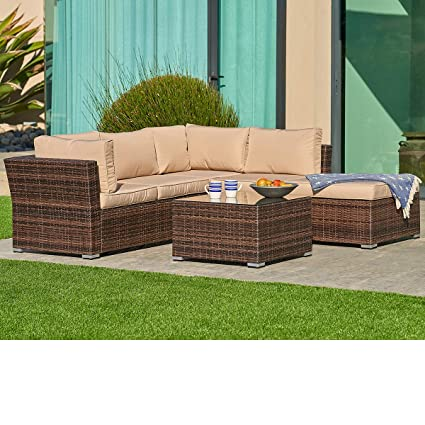 64ccbb98f68c SUNCROWN Outdoor Furniture Sectional Sofa (4-Piece Set) All-Weather Brown  Checkered