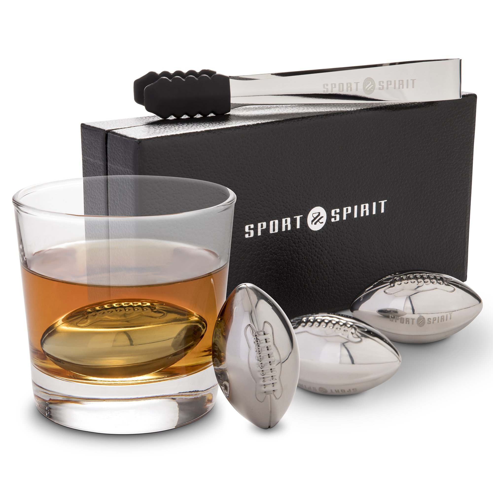 Stainless Steel Whiskey Stones | 4 Piece Whisky Chilling Stones for Liquor, Scotch, and Spirits | 4 Drink Cubes with Tongs, Drawstring Case and Luxurious Box | Reusable Beverage Cooling Rocks