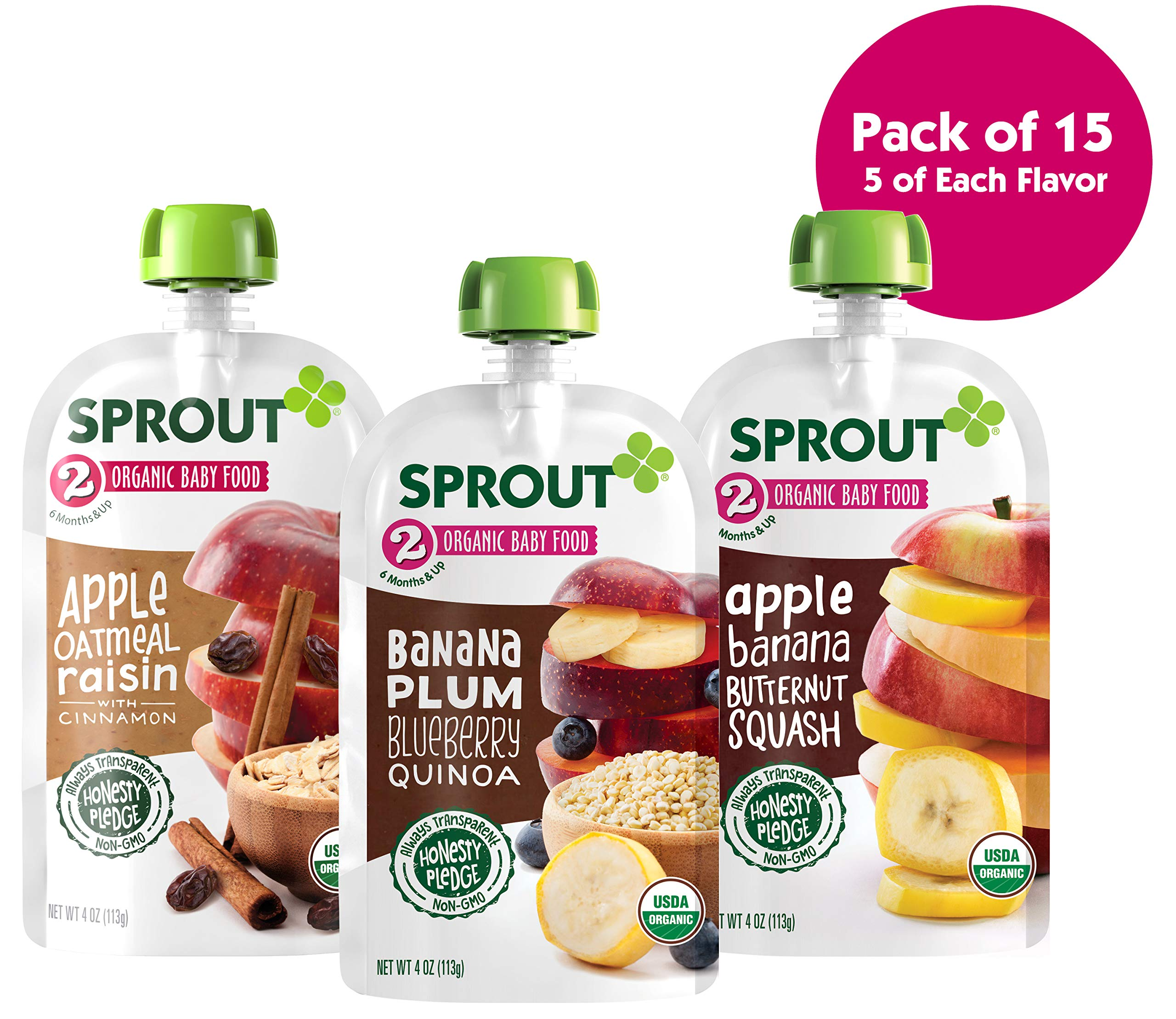 Sprout Organic Stage 2 Baby Food Pouches, Variety Pack, 4 Ounce (Pack of 15) 5 of Each: Apple Oat Raisin w/ Cinnamon, Banana Plum Blueberry Quinoa & Apple Banana Butternut
