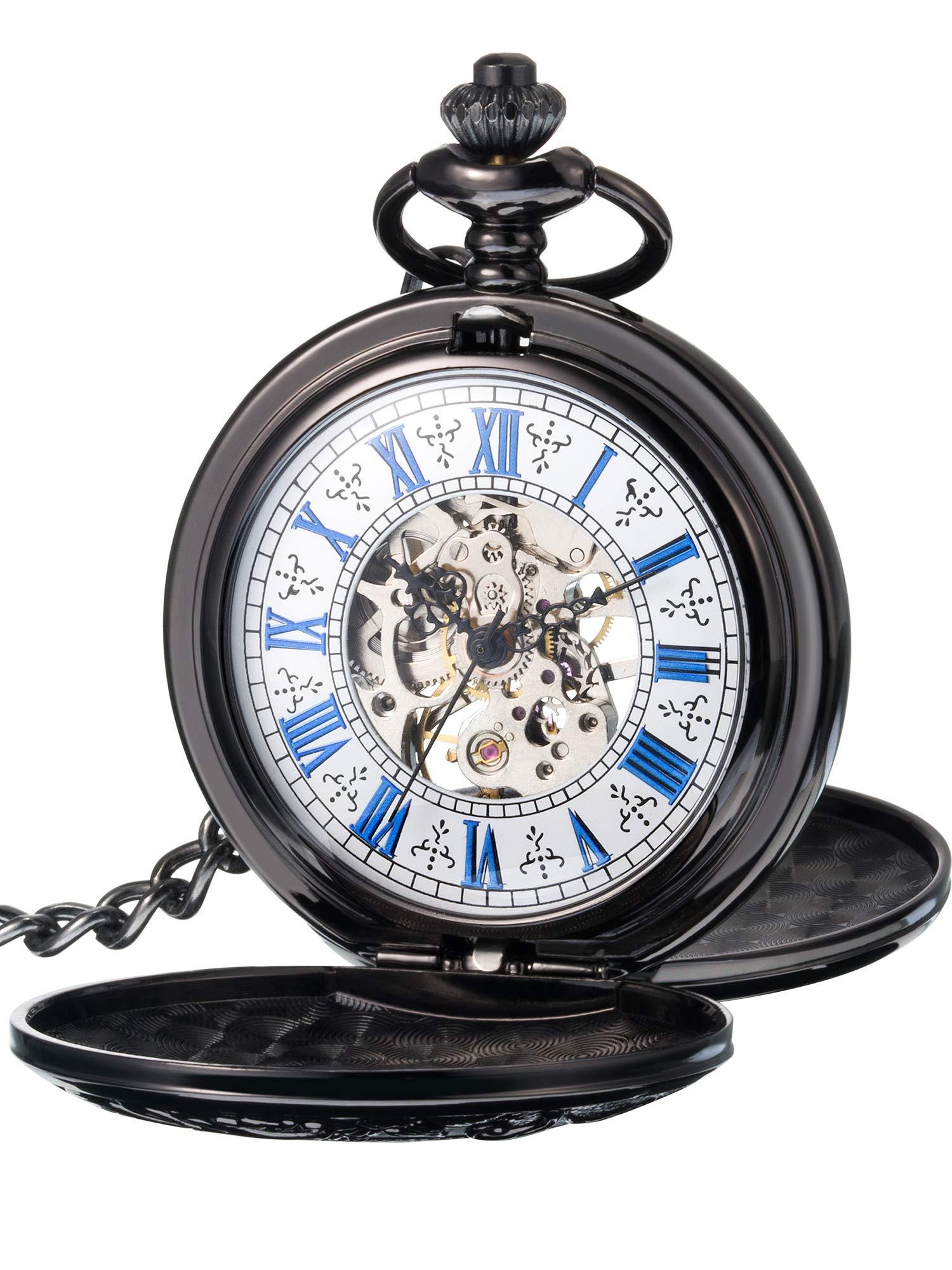 Hicarer Steampunk Blue Roman Dial Double Cover Windup Steel Skeleton Men Mechanical Pocket Watch 3