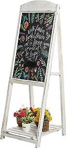 MyGift 45-Inch Vintage Whitewashed Wood A-Frame Sidewalk Menu Chalkboard Garden Sign with Display Shelf