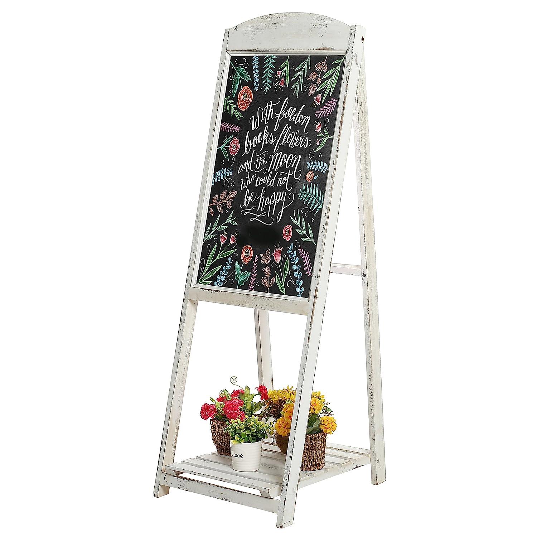 45-inch Rustic Whitewashed Wood A-Frame Sidewalk Menu Chalkboard Sign with Display Shelf MyGift
