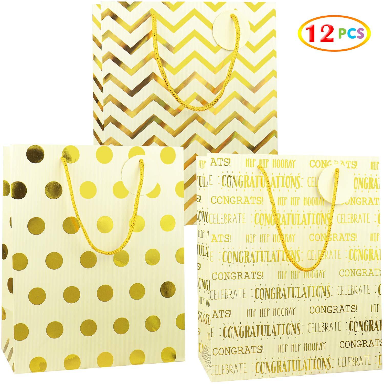12 Pcs Premium Quality Assorted Sizes Paper Bags Set Medium 7x9x4.2 inches XL 13x17x6.5 Large 12x15x4.8 Fzopo Birthday Gift Bag Assortment with Ribbon Handle 6 Designs