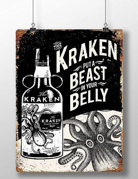 Froy Kraken Rum Belly Beast Pared Cartel de Chapa Retro Hierro Cartel Pintura Placa Hoja de Metal Vintage Arte Personalizado Creatividad Decoración ...